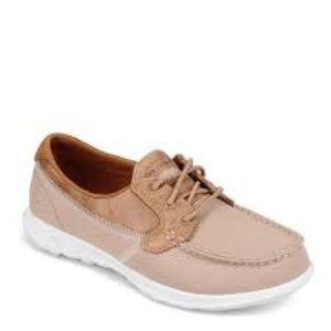 Skechers Go Walk Lite beige canvas boat shoes
